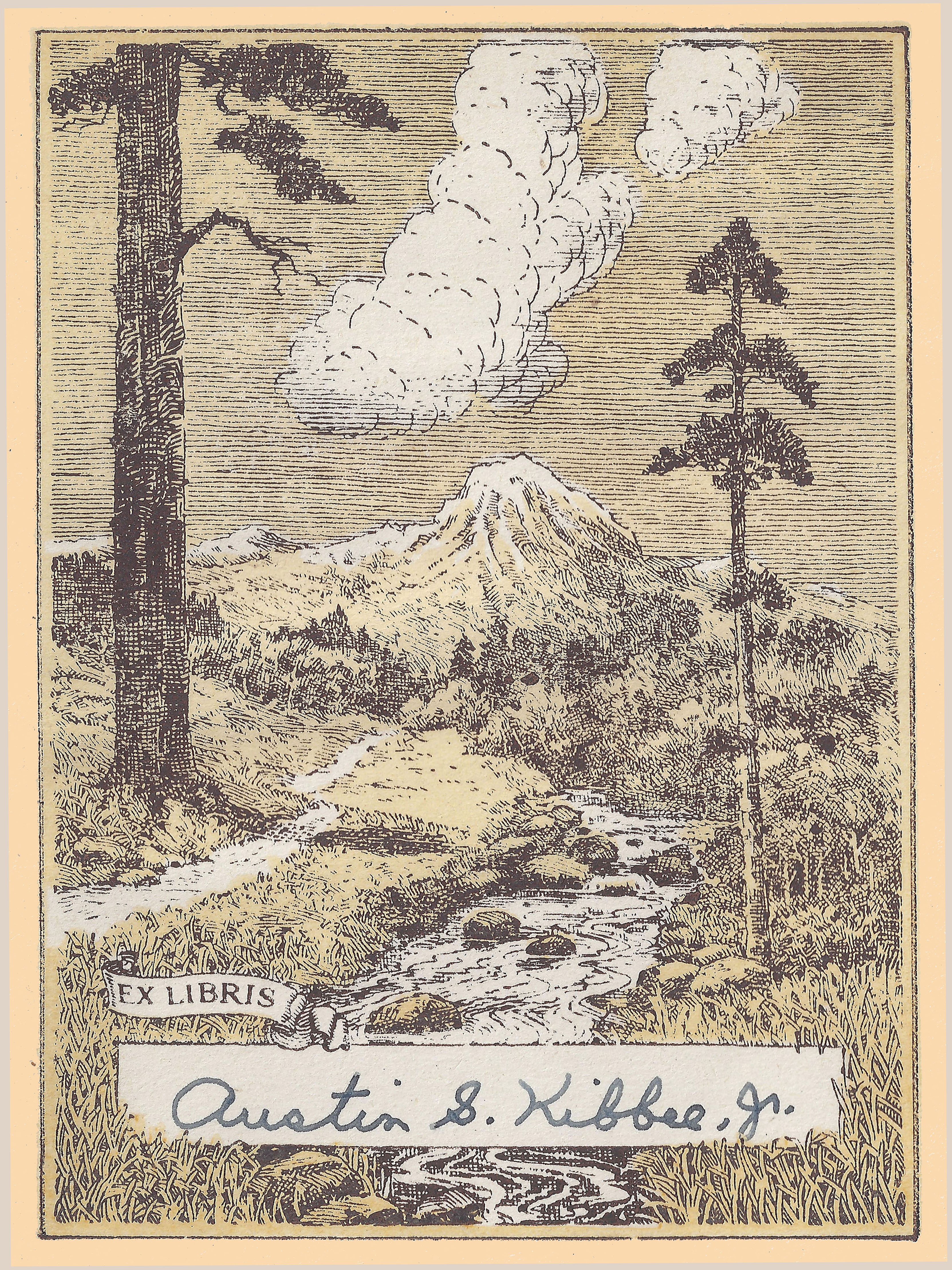 Bookplate of a smoking volcano, with two pine trees on the ground before it and the signature of Austin S. Kibbee, Jr.