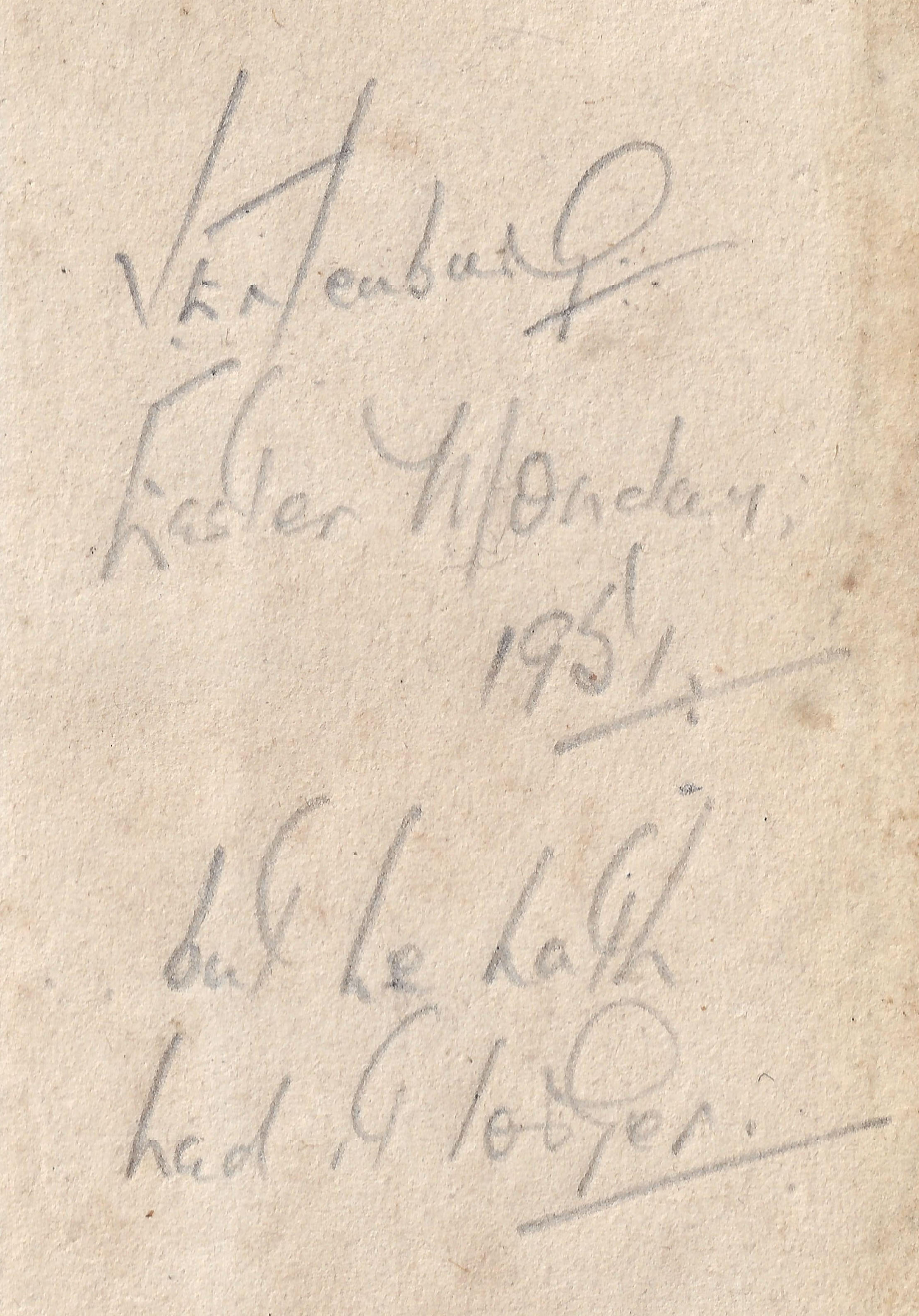 Black and white inscription from the Treasury Of Wit with the name of a past owner, possibly 'J Entenburg', then saying, 'Easter Monday, 1951, but he hath had it longer.'