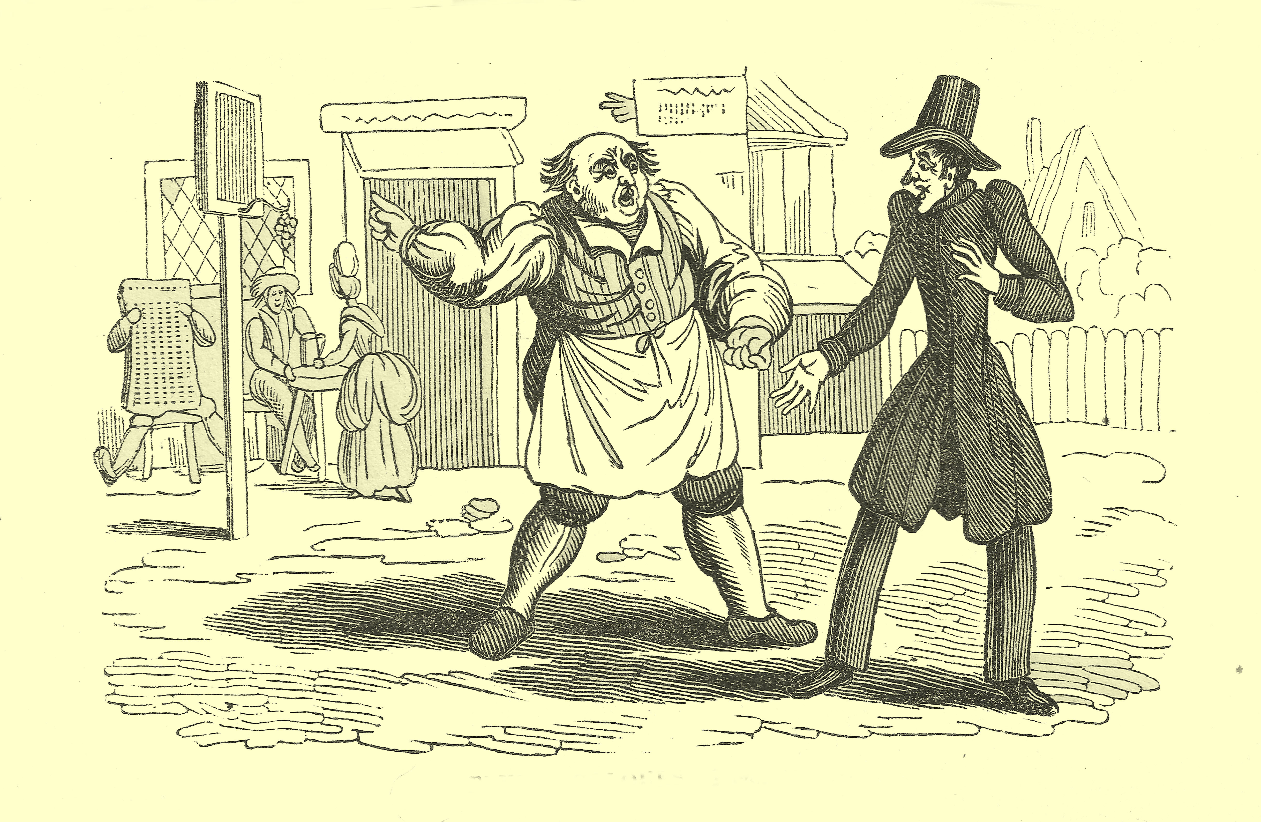 Comic engraving of a city street in the middle of which is a fat tavern keeper, with an apron, talking to a thin, tall man, dressed in a black frockcoat and tophat.