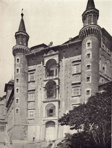 Black and white photograph of The Palace of Urbino, Italy, taken in the late 19th century.