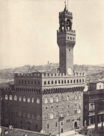 Black and white photograph of Palazzo Vecchio, Italy, thirteenth century, taken in the late 19th century.