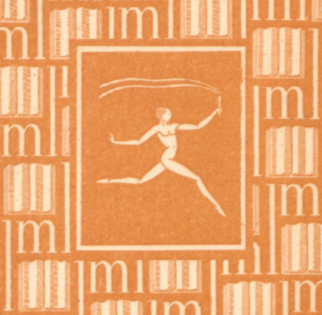 The center of the decorated front papers of the text, with the profile of a stylized nude runner in profile, running to the right (as you look at the pae) carrying a torch, surrounded by a pattern of open books.