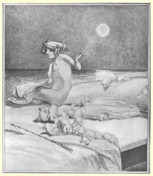Picture of a seated nude girl on a bed with a flock of sheep in huddles on it as well, the full moon is in the background, by Marquis de Bayros.