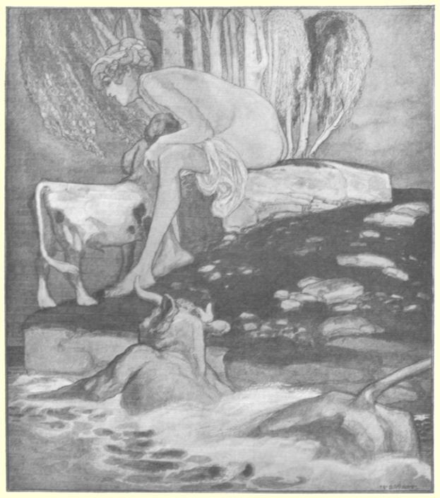 Picture of a naked woman seated on a rock, nursing a young half-boy, half-cow, with a bull swimming in a pond looking on.