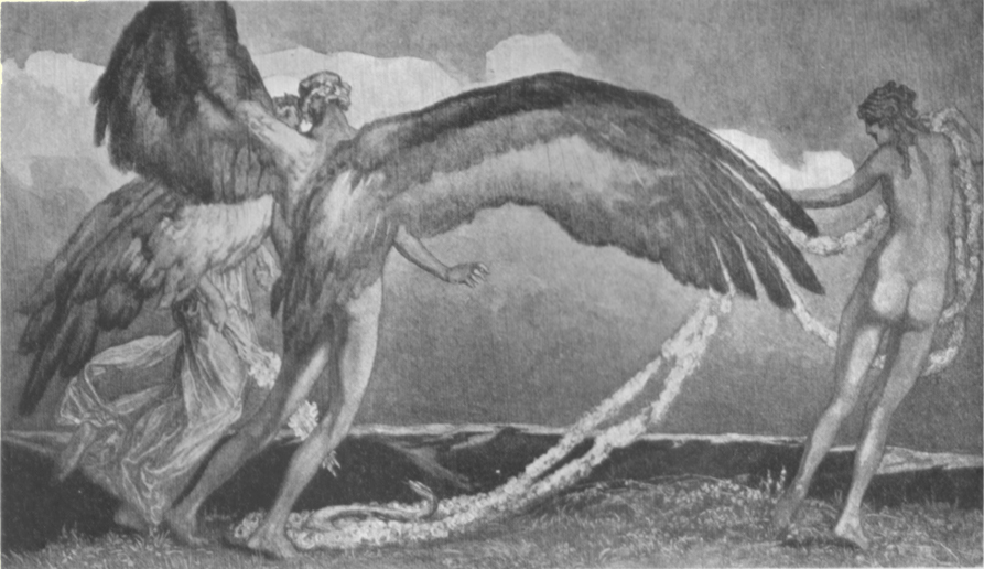 A picture of a male nude with huge wings, advancing on a nude female with a long garland in her hand, by Marquis de Bayros.