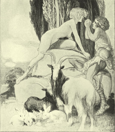 Black and white lithograph by the Marquis de Bayros, of nude woman seated on a rock and leaning over towards a youth holdng his hands clasped up towards her face.  there are goates and rabbits in the foreground and poplar like trees in the background.