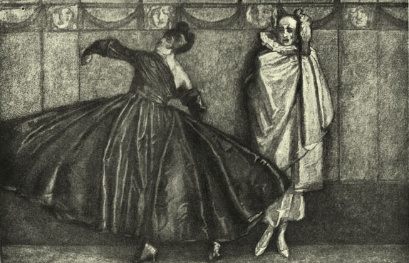 A Black and White Lithograph of a painting by the Marquis de Bayros, of a woman in a dark dress dancing, with a clown in white behind her.