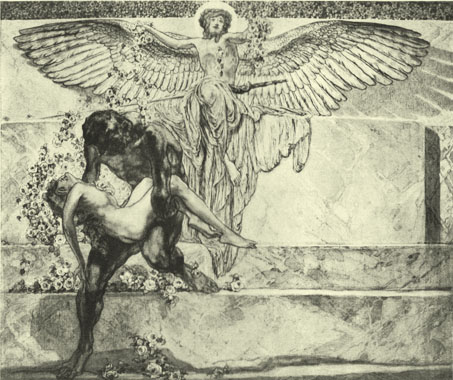 Black and white lithograph by the Marquis de Bayros, of a nude man carrying a nude girl, with a large angel behind them.