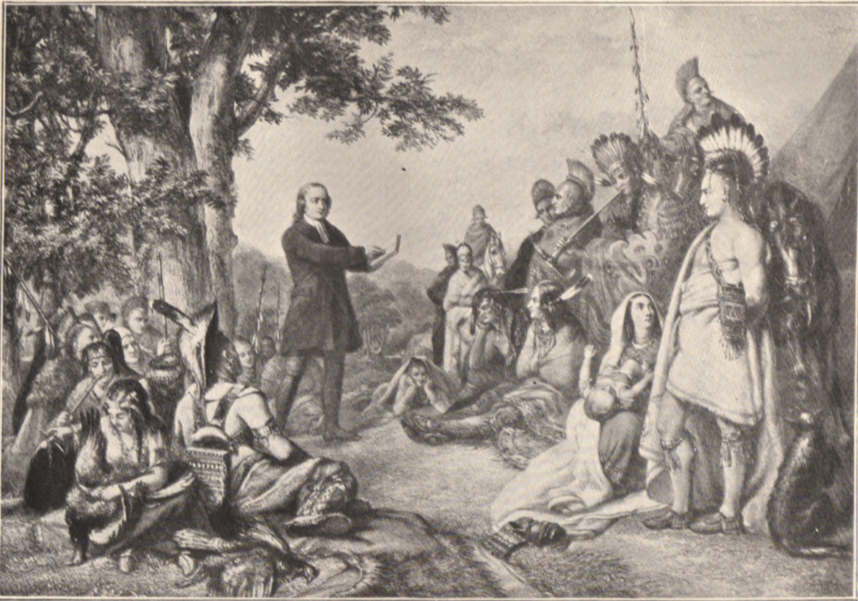 A black and white photograph of a painting, of John Wesley preaching to a large group of Indians.