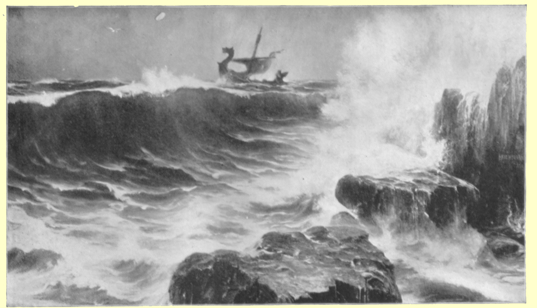 A black and white photograph of a painting, The Norsemen, by H. Hendrick, of a Viking shop with dragon prow, riding over the ocean waves, and land with trees and a rocky shore is seen in the foreground.