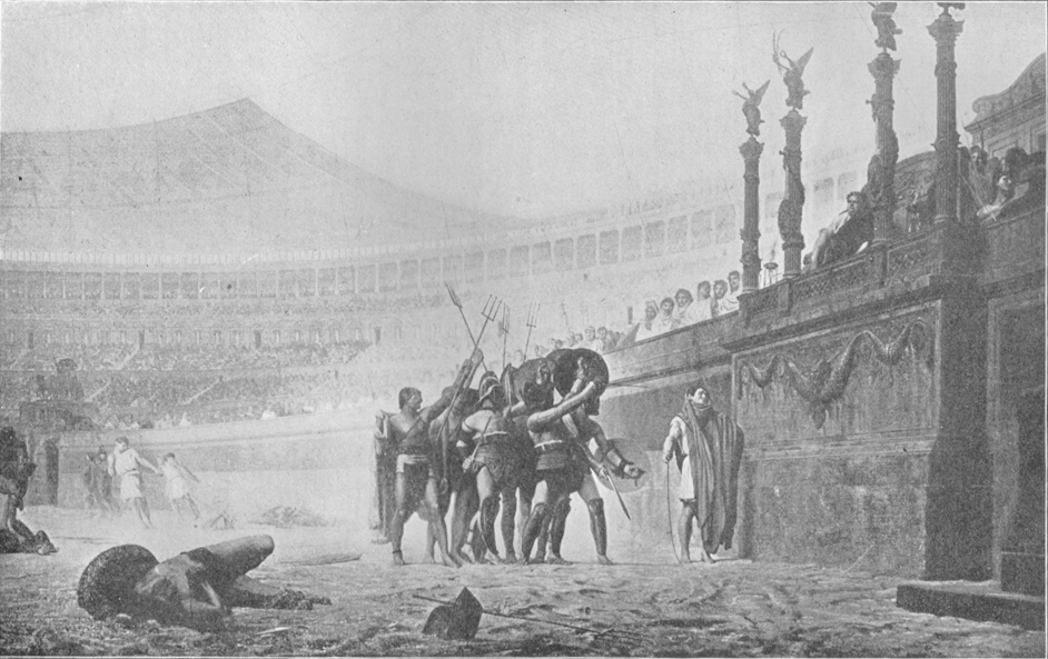 A black and white photograph of a painting, by J. L. Gérôme, of surviving gladiators in the amphitheater befoe Caesar.