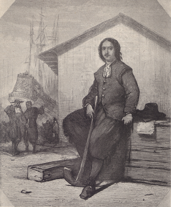 A black and white photograph of a painting, in Holland, of Peter the Great, sitting on a wooden box, with a ship in the background.