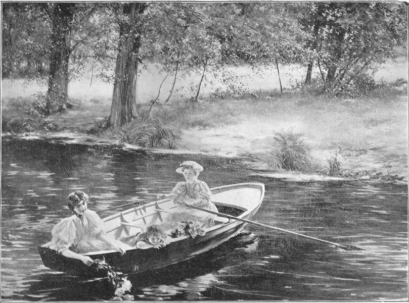 A black and white photograph of a painting, by L. P. Lamy, of two women, in Victorian dress  in a rowboat.