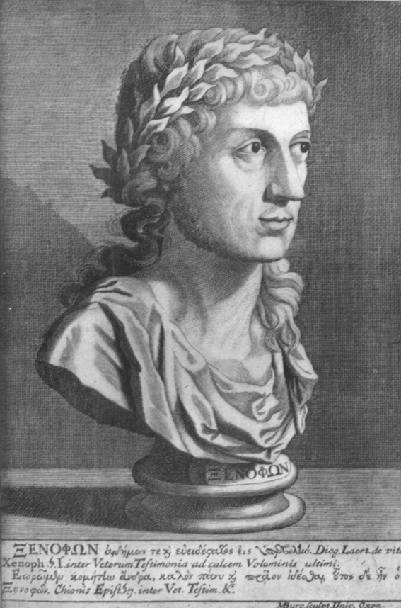 A black and white engraving of a renaissance bust of Xenophon, with a wreath of laurels and long curly hair.