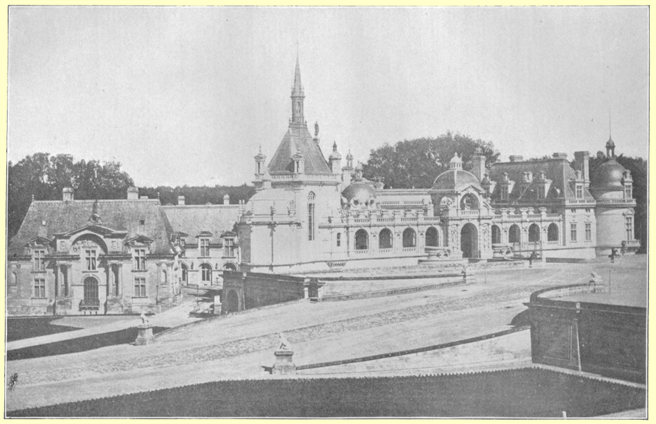 A black and white photograph of a the Chateau de Chantilly, France.