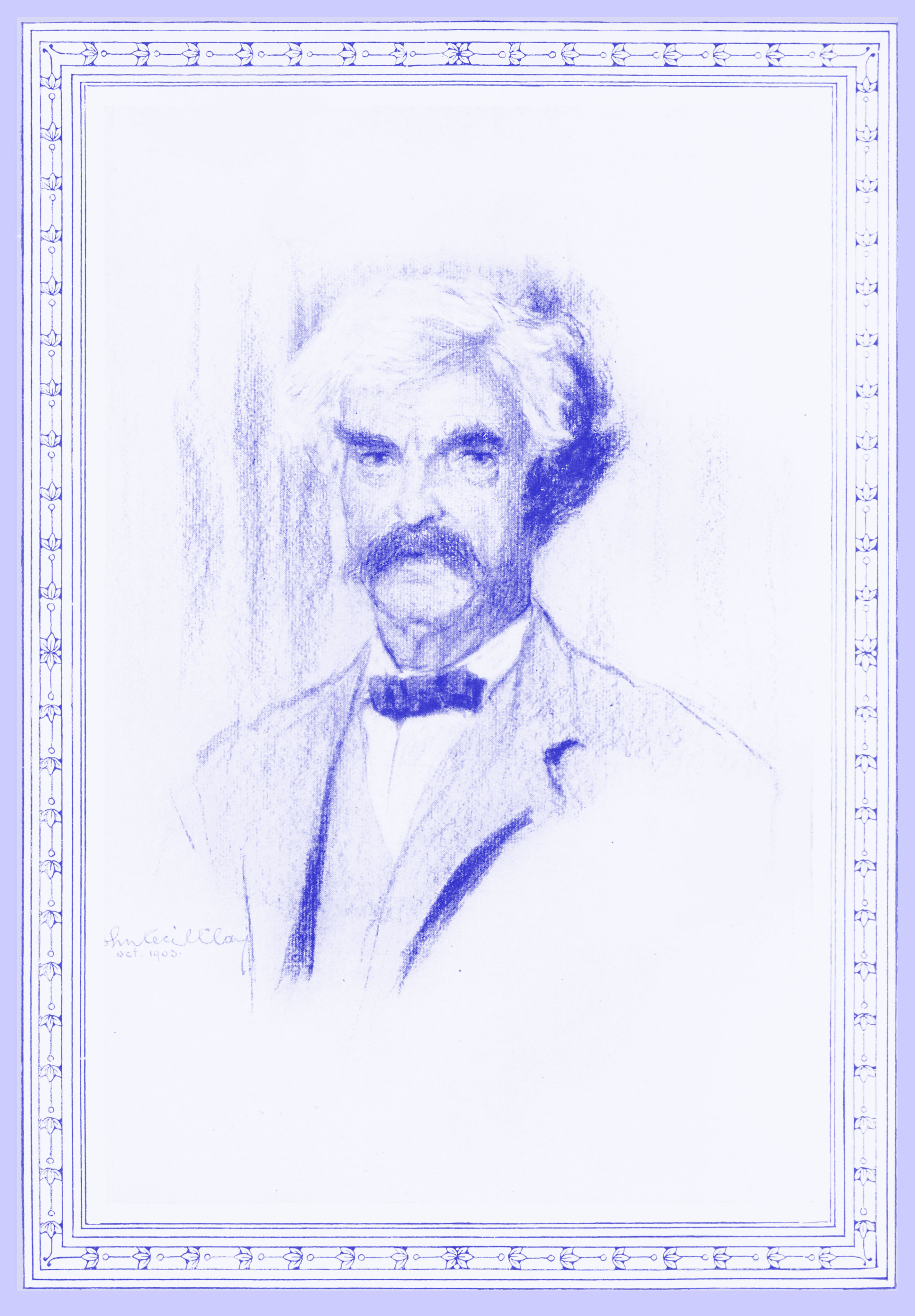 Black and white crayon sketch of Mark Twain by John Cecil Clay, October 1903, with white hair and a dark moustache, wearing a light suit with a dark softly folded bowtie.