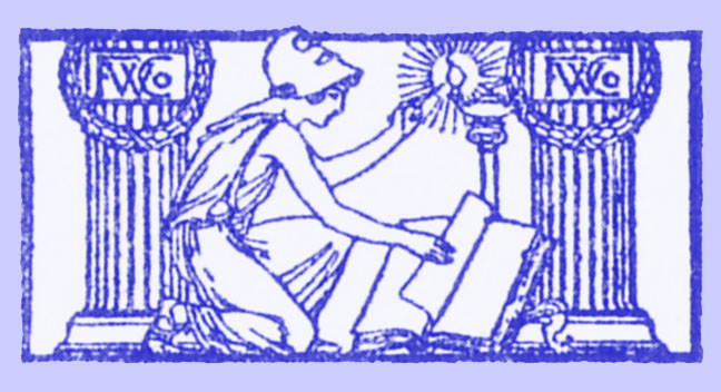 Black and white woodcut of Minerva, with helmet, seated, reading a book, between two fluted pillars.