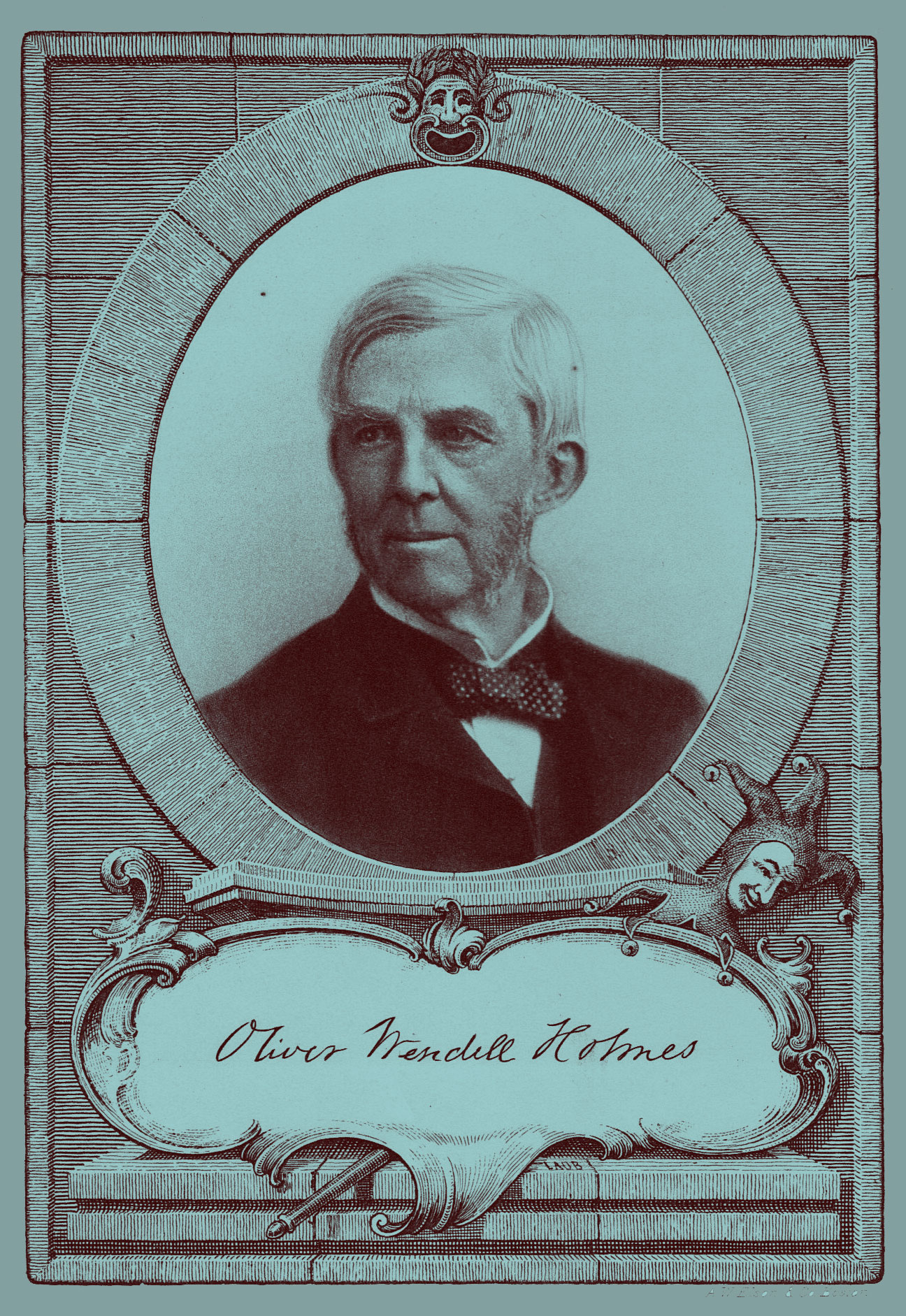 Portrait of Oliver Wendell Holmes, engraving, with a copy of his signature at the bottom
