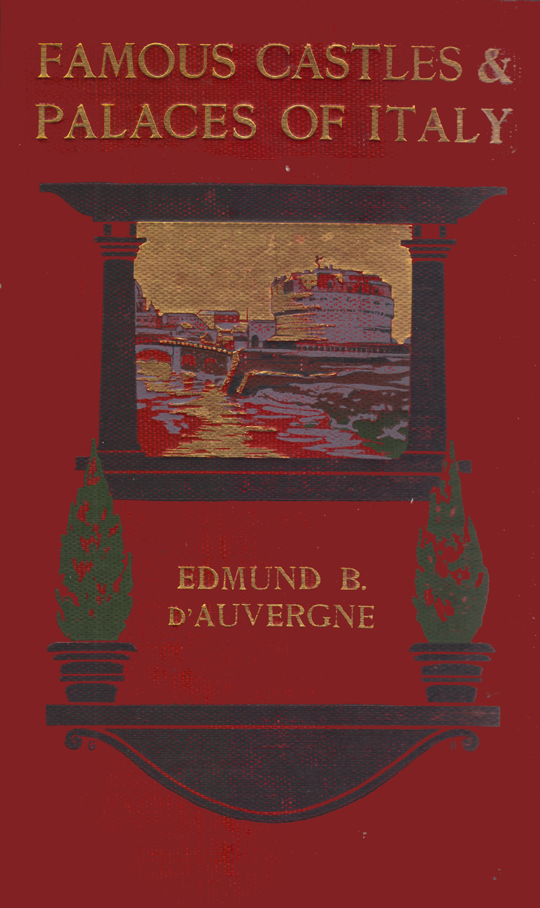 Colored cover of the book, with a picture of the Castle of Sant' Angelo in a stylized frame of pillars and shrubs.