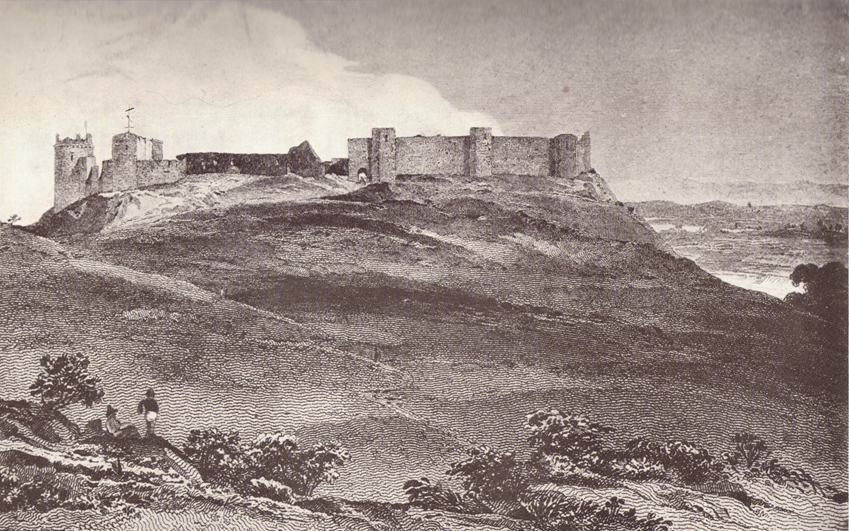 A black and white engraving, of the Castle of Lucera, on a small hill, with smaller bare rolling hills before it.