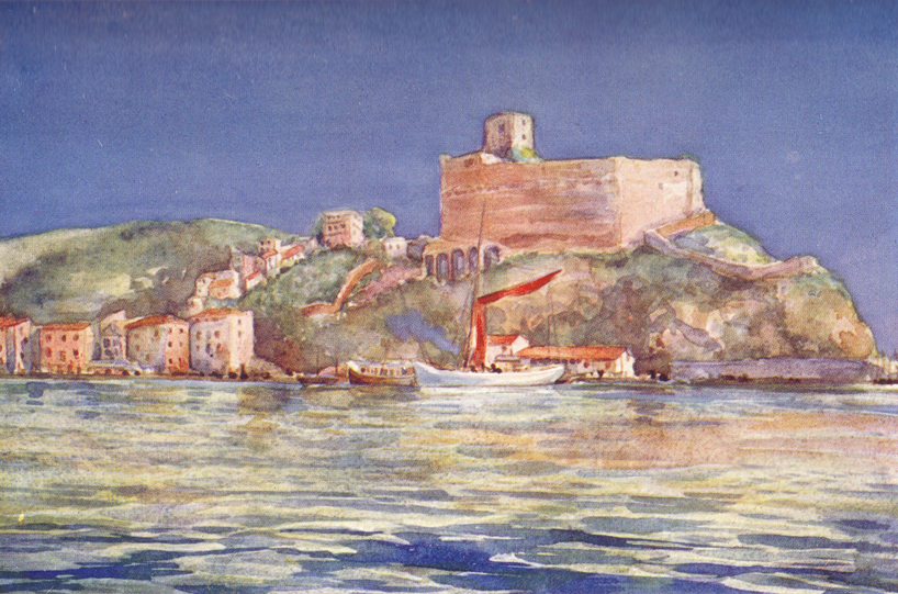 A colored plate of a painting by C. E. Dawson, of the Castle of Lerici, on the shores of the Mediterranean.