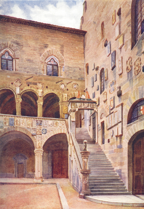 A colored plate of a painting by C. E. Dawson, of the court of the Bargello, Florence, Italy.