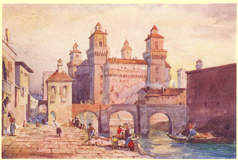 A colored plate of a painting by C. E. Dawson, of the Castle of Ferrara, with other buildings of the city on either side.