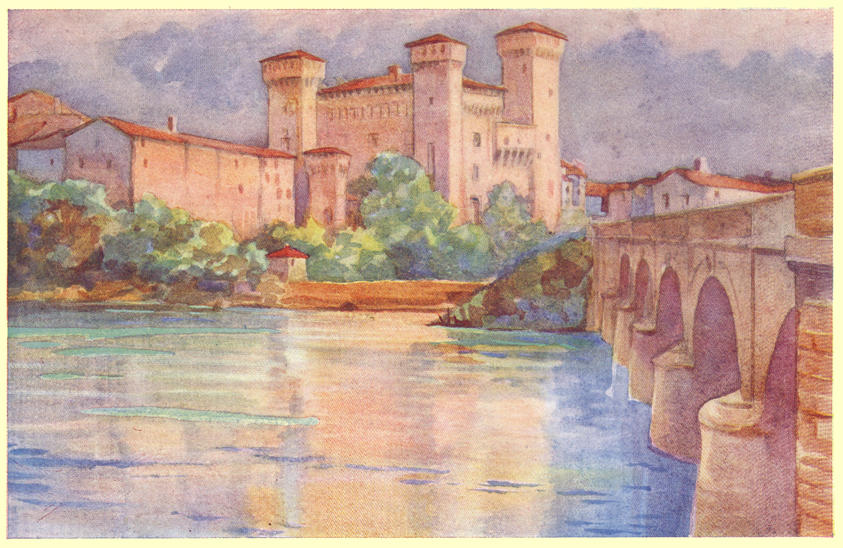 A colored plate of a painting by C. E. Dawson, of the Castle of Vignola, on the Panaro River, in northern Italy.