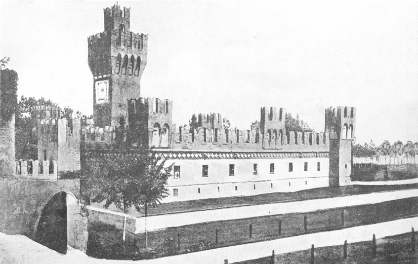 A black and white photograph, of the Castle of San Martino in Soverzano.