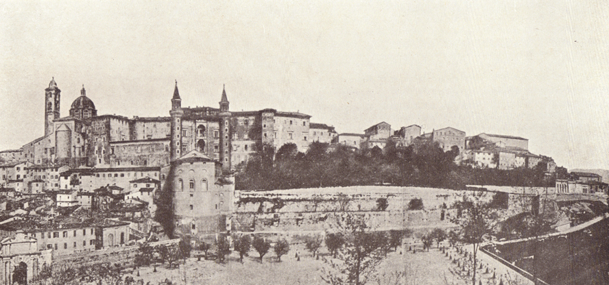 A black and white photograph, of the Castle of Urbino.