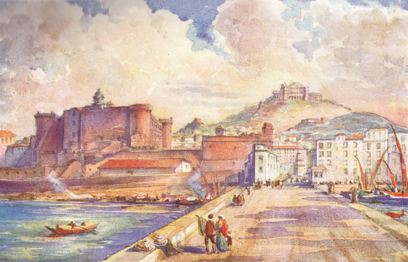A colored plate of a painting by C. E. Dawson, of the Castle of Sant' Angelo, at the sie of the river.