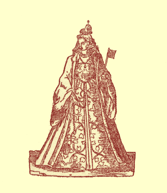 Black and white Engraving of a woman in a long embroidered robe holding a flag.