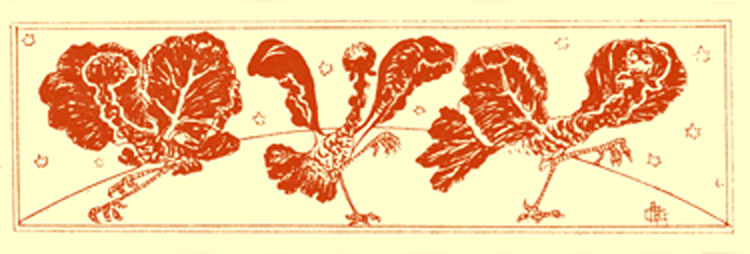 Black and white pen and ink drawing by A. Payne Garnett, of three prancing goofy birds with cabbage leaves for wings.
