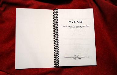 Title Page to My Liary, a journal to record all my fibs, white lies, and larger distortions of the truth, published by Elfinspell, Jenkins, Kentucky, USA